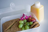 School lunch box with sandwich, grapes and orange juice, close_up