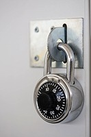 Combination lock on school locker, close_up
