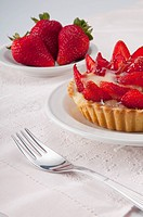 Close_up of strawberry tart