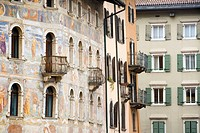 Painted buildings in Piazza Duomo, Trento, Italy