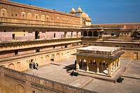 Man Singh I Palace and courtyard, in the Amber Palace, also known as Amber Fort, Amber, near Jaipur, Rajasthan, India