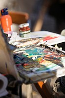 Close up of artists paint palette, Place Du Tertre, Montmartre, Paris, France
