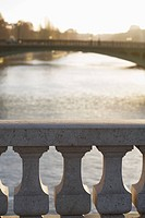 View over Pont au Change bridge railing to River Seine, Paris, France