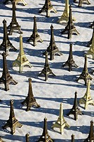 Display of miniature Eiffel tower Souvenirs, Paris, France