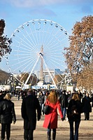 Crowd in Jardin des Tuileries garden, with Ferris wheel in background , Paris (thumbnail)