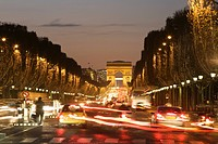 Champs_Elysees and Arc de Triomphe at night, Paris, France
