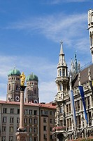 Marienplatz and Frauenkirche church towers, Munich, Germany