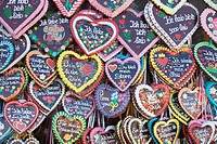 Large assortment of Gingerbread hearts, at Oktoberfest, Munich, Germany