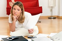 Woman doing home finances