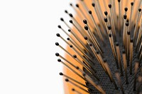 Close up of hair brush bristles