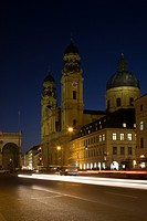 Feldherrnhalle and Theatine Church, Odeonsplatz, Munich, Bavaria, Germany