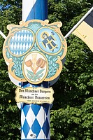 Maypole Viktualienmarkt Munich, Bavaria, Germany