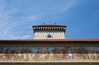 Detail of fresco and clock tower, Isartor, Munich, Bavaria, Germany