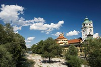 Isar river and Muellersches swimming pool, Munich, Bavaria, Germany