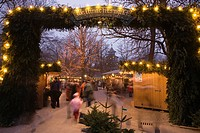 Christmas market at Chinesischen Turm, Munich, Bavaria, Germany