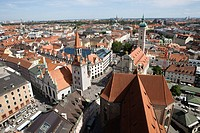Cityscape over old town, Munich, Bavaria, Germany