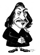 Rene Descartes. Caricature of the French philosopher and mathematician Rene Descartes 1596_1650. While travelling in Europe as a young man, Descartes ...
