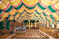 Interior of empty beer tent at Oktoberfest, Munich, Germany