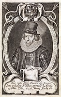 Francis Bacon 1561_1626, English philosopher and statesman. Bacon wrote extensively on philosophy, advocating inductive reasoning from fact through ax...