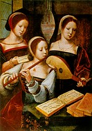 Lady Musicians´: the two in front are playing flute and lute. Anonymous 16th century. Oil on wood.