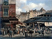 View of the Market of Les Halles': c1828. Giuseppe Canella I 1788_1847, Italian painter. Les Halles was for centuries the food market of Paris, but wa...