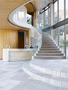 Staircase and glass windows in modern home