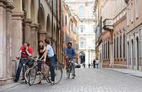 Cyclists on the streets of Modena, Emilia-Romagna, Italy