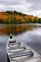 Canoe on a lake at Algonquin Provincial Park in autumn  Ontario, Canada
