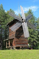 Wooden wind mill, open air wooden architecture museum, Malye Korely, near Archangelsk, Archangelsk Arkhangelsk region, Russia
