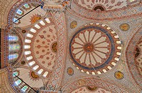 Turkey, Istanbul, historical centre listed as World Heritage by UNESCO, Sultanahmet District, Sultan Ahmet Camii Blue Mosque, cupolas and stained glas...
