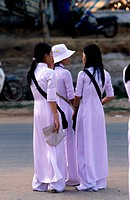 Vietnam, Phu Quoc island Southwest, girls leaving school
