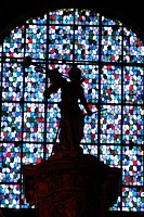 France, Maine et Loire, Angers, inside Saint Maurice Cathedral, detail of the stained glass windows