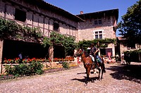 France, Ain, Perouges medieval village, labelled Les Plus Beaux Villages de France The Most Beautiful Villages of France, Place de la Halle market squ...