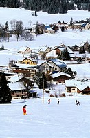 France, Isere, village of Autrans in snow, in the Vercors natural regional park