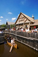 Canada, Ontario Province, Midland_Penetanguishene Region, Sainte Marie among the Hurons, Museum of Hurony and Huron_Ouendat village rebuilt, arrival i...