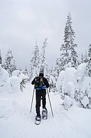 Canada, Quebec Province, Saguenay Region, Parc National des Monts Valin, hiking snowshoes