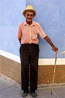 Cuba, Trinidad de Cuba, listed as World Heritage by UNESCO, old man holding a stick