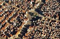 France, Corse du Sud, Ajaccio, sea cemetery aerial view