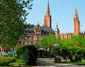 Germany. Wiesbaden, Rhine, Hesse, neo-Gothic Market Church and gardens.