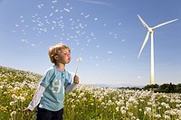 boy blowing dandelion at wind turbine