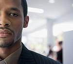 Close up of serious mixed race businessman