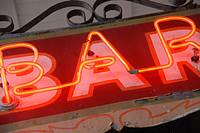 Neon Bar Sign at Bourbon Street, French Quarter, New Orleans, Louisiana, United States