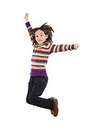 Joyful little girl jumping
