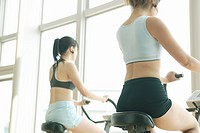 Two young women perform exercise in a well equipped gym