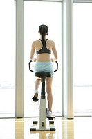 Rear view of a young woman performing an exercise in a well equipped gym (thumbnail)