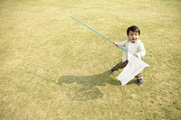 A small boy holding a net stands amidst the ground (thumbnail)