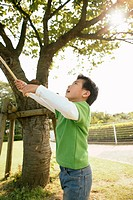 Boy raising a stick near a tree in the garden