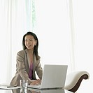 Businesswoman sitting in front of a laptop (thumbnail)