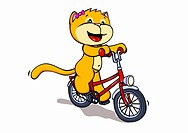 A cartoon cat riding a bicycle