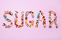 Candies spelling out SUGAR